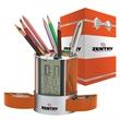 "Impressa Clock / Organizer & Packaging - 3.38"" x 4.38"" x 3.38"" Impressa alarm clock/organizer with LCD display; includes metal mesh pen cups, 2 hideaway storage drawers."