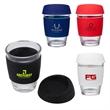 "Rizzo Perka® 12 oz. Glass Mug w/ Silicone Grip & Lid - 3.62"" x 5.25"" x 3.62"" Rizzo Perka® 12 ounce borosilicate glass mug with silicone grip and matching lid."