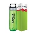 Lucent 26 oz. Tritan™ Water Bottle & Packaging - 26 oz. Tritan bottle in box; translucent bottle with stainless steel band on screw-top lid and a carrying handle.