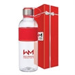 Kai 28 oz. Tritan™ Water Bottle & Packaging - 28 oz. Tritan bottle in gift box; has stainless steel screw-on lid with lid strap and silicone grip on bottle.