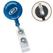 """Round Secure-A-Badge™ with Alligator Clip - Round badge holder with 30"""" nylon retracting cord, snap lock and alligator clip."""
