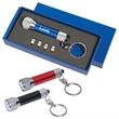 Aluminum LED Flashlight Key Chain - Aluminum flashlight keychain, 4 cell batteries included with 5 white LED lights.