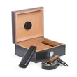 "6 Piece ""Carbon Fiber"" Design Humidor Set - Humidor Set with Cedar Lined 50 Cigar Humidor, Cigar Ashtray, Leather Travel Case, Cutter, Humidistat and External Hygrometer."