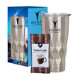 22 Oz. Vortex Stainless Steel Tumbler With Cocoa And Cust... - 22 oz. stainless steel tumbler packed together with cocoa mix in a custom window box.