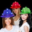 Sequin LED Fedora Hats with Imprinted Band - Black sequin fedora hat with six bright white LED lights and a customizable elastic band.