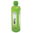 600 ML. (20 OZ.) GLASS WATER BOTTLE WITH SILICONE SLEEVE - 600 mL. (20 oz.) Glass Water Bottle with Silicone Sleeve. Single wall glass water bottle with colored silicone wrap and cap.