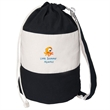 ROUND COTTON BEACH TOTE - Round cotton beach tote with top rope drawstring closure.