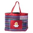 THE SOCIALITE MESH STRIPE TOTE BAG - Mesh Stripe Tote Bag, 210 Denier Polyester and Mesh, Colorful stripes on body of bag, Padded bottom base, Front slash pocket.