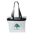 "THE STADIUM CLEAR VINYL TOTE - Clear Vinyl Tote, 12"" x 12"" x 6"", Vinyl and Webbing, Colored webbed trim and handles, See-through bag complies with new rules."