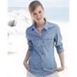 Burnside Women's Long Sleeve Chambray - Ladies long sleeve chambray shirt with roll-up button sleeve.