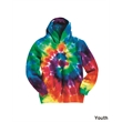 Dyenomite Youth Multi-Color Swirl Hooded Sweatshirt - Youth tie-dyed multi-color spiral hooded sweatshirt. Blank.