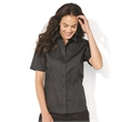 FeatherLite Women's Short Sleeve Stain-Resistant Tapered ... - Ladies short sleeve tapered twill shirt with woodtone buttons.