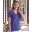 Hanes ComfortSoft® Tagless® Women's V-Neck Short Sleeve T... - V-neck T-shirt for women with tag-free neck label and shoulder-to-shoulder tape.