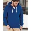 J. America Sport Lace Hooded Sweatshirt - Adult sport lace hooded sweatshirt, 10.0 oz., 80/20 cotton/polyester. Blank product.