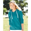 J. America Women's Sueded V-Neck Hooded Sweatshirt - Women's brushed v-neck hooded sweatshirt. Blank product.