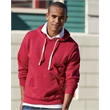 J. America Triblend Hooded Sweatshirt - Triblend hooded pullover sweatshirt, coverstitched throughout, with a front pouch pocket and off-white contrast drawcords.