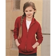 JERZEES NuBlend® Youth Full-Zip Hooded Sweatshirt - Youth full zip hooded sweatshirt with 1x1 rib cuffs and waistband. Blank product.