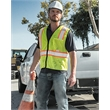 """ML Kishigo Economy Vest with Contrast-Color Zippered Front - Economy vest with contrast zipper front and 2"""" wide reflective material bordered by 3"""" contrasting color."""
