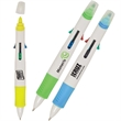 Multi-Tasker Pen/Highlighter - Broad plastic body pen with four ballpoint pens and highlighter.