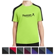 Sport-Tek Youth PosiCharge Competitor Sleeve-Blocked Tee - Youth tee made of 100% polyester with Colorfast, moisture wicking, and PosiCharge technology.