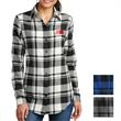Port Authority Ladies' Plaid Flannel Tunic - Tunic for ladies made of 60% cotton and 40% polyester flannel that's lightly brushed for softness with an open collar