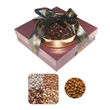 The Beverly Hills - Grade A Nuts & Chocolate Almonds - Tower of gourmet delights with a gift box and gold rush tray with a variety of nut treats