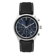 Unisex Watch Blue Sunray Dial Chronograph - Men's chronograph watch with blue sunray dial, 34mm silver stainless steel case, and oiled leather strap with white stitching.