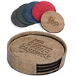 Casablanca Cork Round Coaster Set - Set of four coasters with thermo PU tops and woven fabric bottoms.