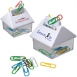 House Paperclip Dispenser - House shaped paper clip caddy with magnetized paper clip slots; 15 assorted clips included.
