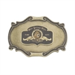 "Buckle - Scroll buckle with 1 1/2"" emblem."