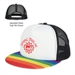 Rainbow Trucker Cap - 5-panel rainbow trucker cap made of a 100% polyester foam structured crown with a medium profile and flat bill.