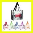 "Clear Vinly NFL Stadium Compliant Tote Bag With Handles - Clear PVC Stadium Tote Bag 6"" gusset and 20"" long handles that make it easy to carry with you all day!"