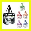 "Zippered Clear Vinly NFL Stadium Compliant Tote With Handles - Clear PVC Zippered Stadium Tote Bag 6"" gusset and 20"" long handles that make it easy to carry with you all day!"