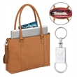 """Solo® Greenwich Tote - 4.5"""" x 12.5"""" x 17"""" tote bag with 15.6"""" laptop compartment and removable should strap; comes with metal keychain."""