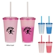 "16 Oz. Econo Color Changing Tumbler - 16 Oz. Econo Color Changing Tumbler. Polypropylene Material.  Snap-On, Spill-Resistant Lid With Matching 9"" Straw.  BPA Free."