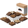 Custom Dozen - Full size brownies, 1 each of 12 flavors in a gift box with your color logo or photo on the band.
