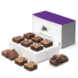 Custom Morsel Dozen - Bite-sized brownies, 2 each of 6 flavors.in a purple box with your full-color logo on the band.