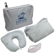 3-Piece Travel Pillow & Blanket Set - 3 piece travel set includes cuddle up pillow, fleece blanket, and eye mask.