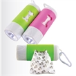 "Dog Waste Bag Dispenser with LED Flashlight - Dog waste bag dispenser made of plastic and measuring 4.33"" x 1.46"" with an LED flashlight."