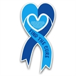 """Ribbon Heart Car Sign Magnet - 3 7/8"""" x 8"""" heart/ribbon shaped car magnet with 0.030 thickness and four color process printing."""