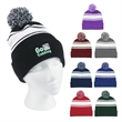 Two-Tone Knit Pom Beanie with Cuff - Two-Tone Knit Pom Beanie with Cuff.  100% Acrylic.  One Size Fits All.  Comes in 8 Great Colors!