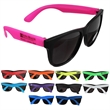 "Neon Sunglasses - Adult size, black sunglasses with temples in neon colors; 5 3/4""."