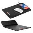 """Wireless Charging Mousepad with Phone Stand - 11.63"""" x 8.31"""" x 0.31"""" thick leatherette mouse pad that can charge phones wirelessly or be used as a phone stand."""