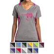 Sport-Tek Ladies' Heather Colorblock Contender V-Neck Tee - Ladies V-neck tee made from 100% polyester jersey.