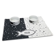 The Personalized Pet Bowls And Mat Set - Personalized dining set for a pet.