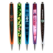 """Folsom Flat Pen - 5 3/4"""" x 1/2"""" x 7/6"""" flat plunger-action ballpoint pen with matching color weighted barrel, pocket clip and chrome ferrule."""