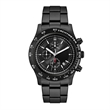 Unisex Watch Men's Chronograph Watch - Chronograph watch for men and women featuring a 44mm brushed silver metal case, rotating bezel, and folded steel bracelet.