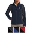 Sport-Tek Ladies' Colorblock Soft Shell Jacket - Ladies' waterproof, breathable Sport-Tek jacket with a soft polyester woven shell and microfleece lining.