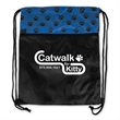 "Paw Print Drawstring Pack - 14.5"" x 18"" H  polyester drawstring bag pack, paw print design runs across the top portion of pack."