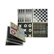 Games - Five in one metal tic tac toe, chess, checkers, backgammon, and Parcheesie set.